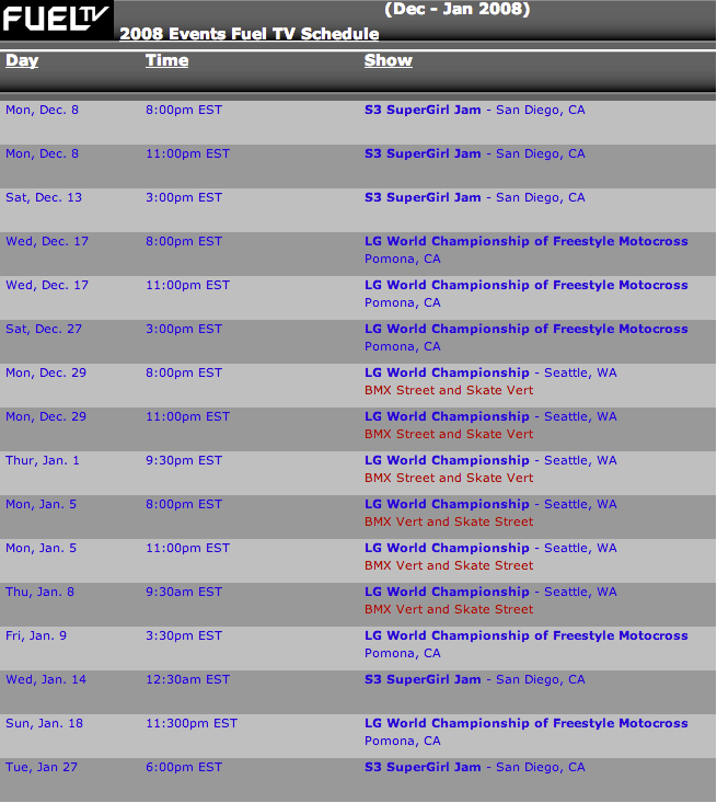 2008 dom tv sched 2